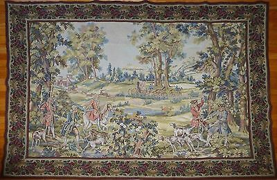"SUPERB huge Antique French Wall Hanging Tapestry Hunting Scene  85"" x 64.5"""
