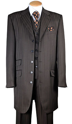 "Men's Fashion Striped Zoot Suit With Vest And Pants 37"" Jacket  29198V"