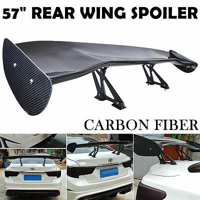 "57.5"" Adjustable Carbon Fiber Rear Trunk 3D Single Deck Racing Spoiler Wing"