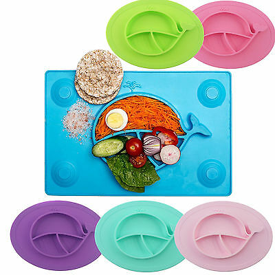 Non-Slip Baby Food Placemat One-Piece Silicone Child Divided Dish Bowl Plates