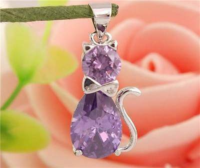 New 925 Sterling Silver Amethyst Crystal Gemstone Cat Necklace & Earrings Set