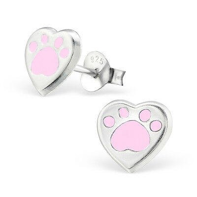 925 Sterling Silver Pink Paw Print LoveHeart Kids Girl Women Stud Earrings