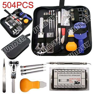 504Pcs Watchmaker Watch Repair Tool Kit Back Case Opener Remover Spring Pin Bar