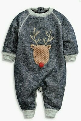 BNWT Next Baby Boys Christmas Reindeer All In One Romper Outfit 0-3-6 Months