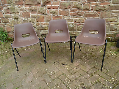 3 X  Retro Brown KM STACKING CHAIRS METAL FRAME Plastic Office CAFE Wedding