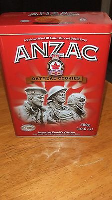 Collectable Anzac Legion Oatmeal Cookies Tin Limited Edition Canada's Veterans