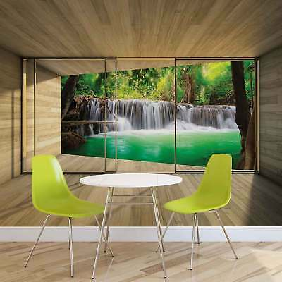 WALL MURAL PHOTO WALLPAPER XXL Window Forest Waterfall Lake Nature	 (3317WS)