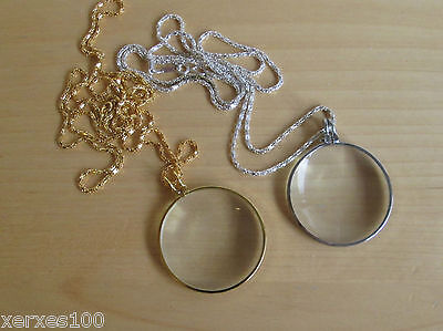 I x STEAMPUNK 5 x power magnifying glass on long necklace chain