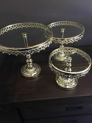 Set Of 3 Gold  Metal/ Glass Cake Stands With Acrylic  Crystal Pendents