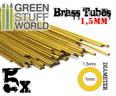 5x Brass Tubes 1.5mm - Pinning Sculpting Model Making Miniatures Warhammer bases