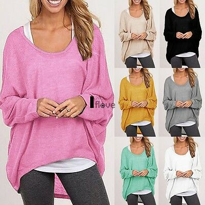 Plus Size Women Ladies Loose Long Sleeve Shirt Casual Blouse Baggy Tops Jumpers