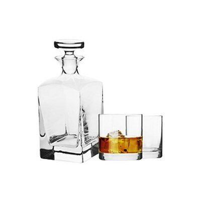 New Krosno Vinoteca Scotch Decanter 3 Piece Set Gift Boxed