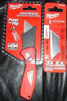 Milwaukee Fastback Compact Flip Utility Knife & 5 Blades   Super Fast Shipping!