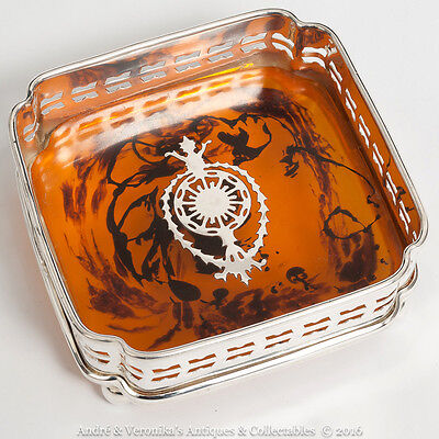 Reproduction Antique WINE COASTER Faux Tortoiseshell EPNS Silver Plated Regency