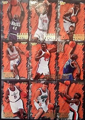 Lot 9 Cartes NBA basket cards Fleer 1996 1997 Hardawood Leader