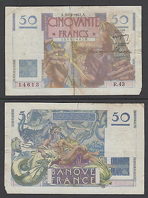 France 50 Francs 1947 in (VG+) Condition Banknote Neptune P-127