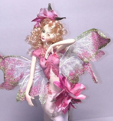"""New 13"""" Fairy Resin Doll w/delicate fairy wings Pink & Sage Stick pencil (R1827"""