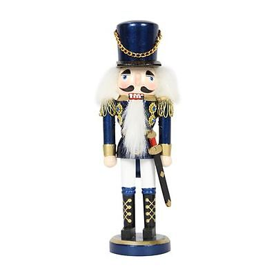 38cm Traditional Wooden Standing Nutcracker (Blue) Christmas Decoration