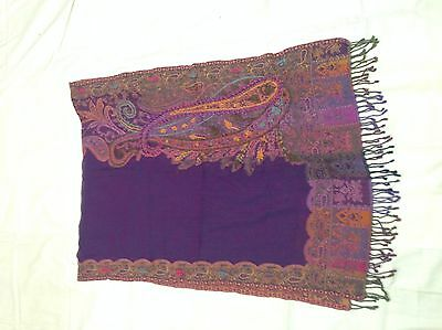 Boiled Wool Shawl Stole Scarf Hand Embroidery Paisley Jamawar Antique Design 290