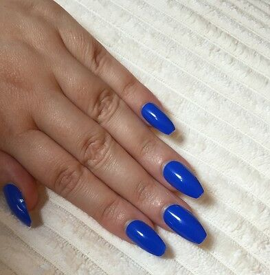 Hand Painted False Nails COFFIN Full Cover. Gorgeous rich Blue. Gel Gloss. UK