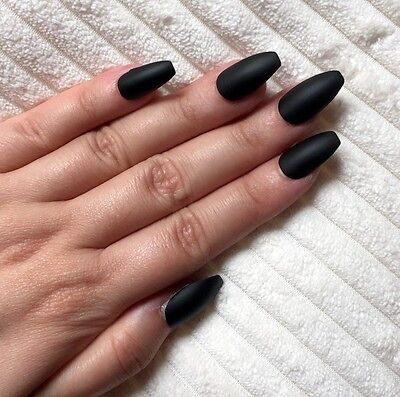 Hand Painted False Nails COFFIN (or ANY SHAPE) Plain Matte Black. Ballerina SALE