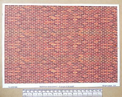 "G gauge (1:24 scale) "" Red-brown brick (clean) "" -  paper- A4 sheet"