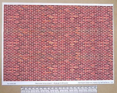 "G gauge (1:24 scale) ""Red-brown brick (clean) "" self adhesive vinyl - A4 sheet"