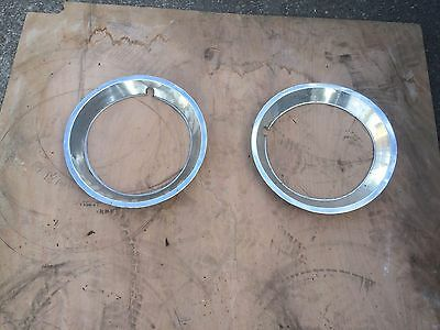 """MG USED MGB 14"""" ROSTYLE chrome STAINLESS STEEL WHEEL TRIMS X2  1969 TO 1980 ***O"""