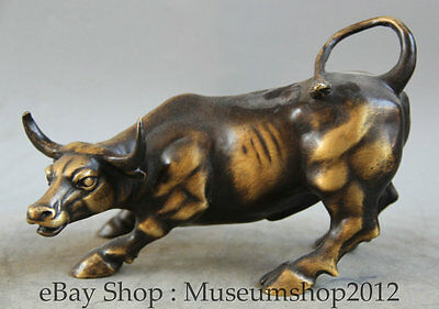 """8"""" Chinese Feng Shui Copper 12 Zodiac Year Bull Oxen Strong Statue Sculpture"""