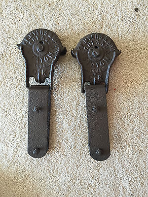 Antique Pair Cast Iron FE MYERS SURE GRIP Barn Door Rollers Pair