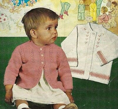 "1701 Baby Girls DK 2x Matinee Coats18-20/"" 6-9mth Vintage Knitting Pattern"