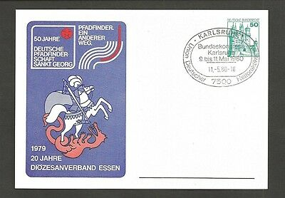 1980 Scouts St George Germany 50 Jahre pc Karlsruhe cancel Arge Loknot