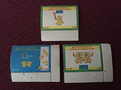 Myanmar 2013 SEA Games Stamp Issue (3 Kinds, MNH)