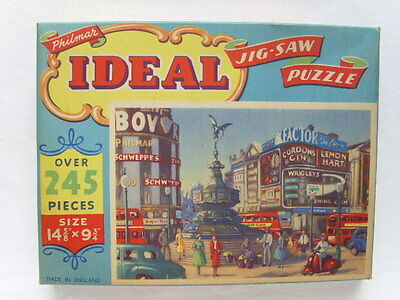 Vintage PHILMAR Ideal JIGSAW PUZZLE London PICCADILLY CIRCUS 1950s COMPLETE Old