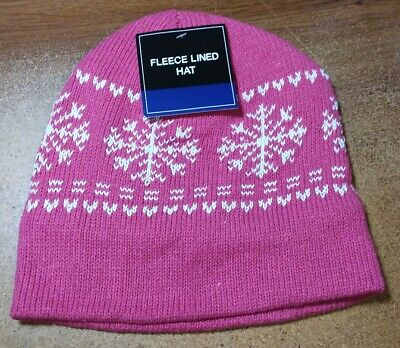 01e85cc7 PINK MENS WOMENS KNIT FLEECE Lined Beanie Hat Cap Warm Winter SnowFlake NWT