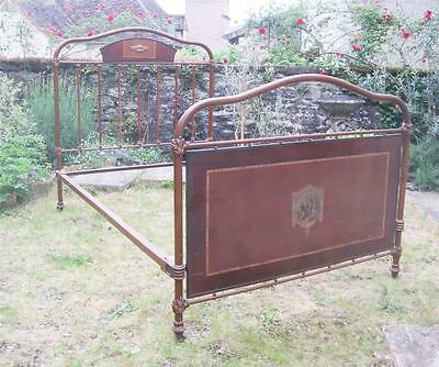 Superb Quality French Vintage Iron & Brass Panelled Small Double Bed