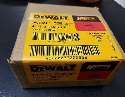 "Dewalt Dw8424 25 Pz Pack 4 1/2"" X .045"" X 7/8"" Thin Cutting Wheel"