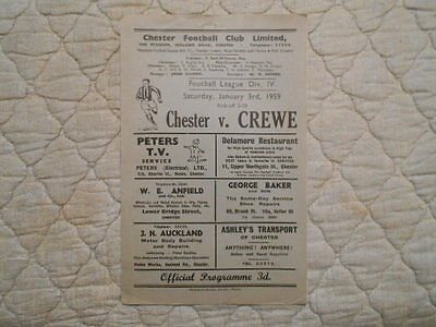 Chester V Crewe Fourth Division Match Programme January 1959
