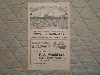 Grimsby Town V Barnsley Second Division Match Programme December 1948