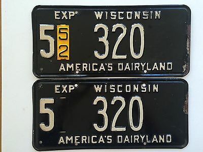 Wisconsin 1952 Vintage License Plate Pair Garage Old Car Tag Set Low Number Auto