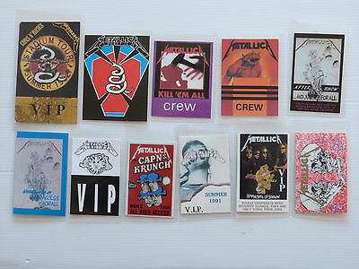 METALLICA - Collection of ELEVEN Laminated Backstage Tour Passes (X11)