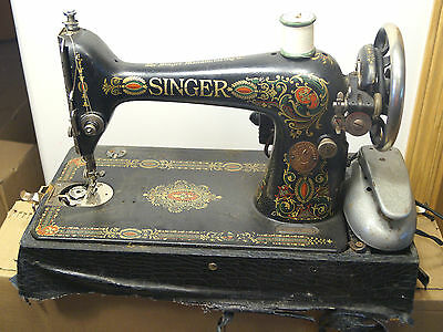 Antique C 1910 Ornate Singer Sewing Machine Working Condition W/ Wood Carry Case