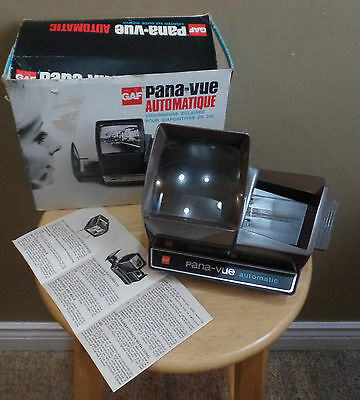 Vintage GAF Pana-Vue Automatic Lighted 2x2 Slide VIEWER with PAMPHLET & BOX