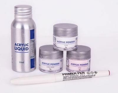 The Edge Nails Acrylic Powder & Liquid Trial Kit contains 5 items