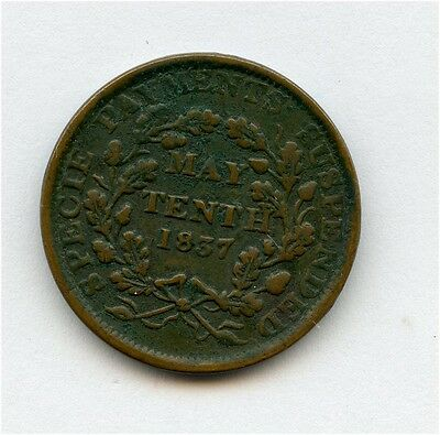 1837 Hard Times Token Substitute for Shin Plasters See Description