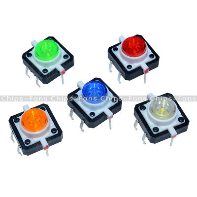 New 5PCS 12X12X7.3 Tactile Push Button Switch Momentary Tact LED 5 Color
