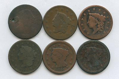 Large Cents Starter Lot of 6 Coins 1803-1851 All Are Well Worn