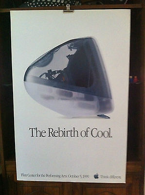"""Vintage Apple iMac """"The Rebirth of Cool"""" Poster 1999."""
