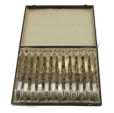 12 pc Bruckmann & Sohne German 800 Silver & Mother of Pearl Fish Knives c. 1900