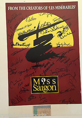 Miss Saigon Cast Signed Poster With Ticket Stub